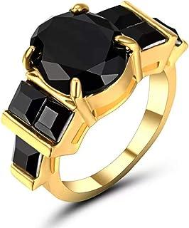 خاتم نسائي مطلي بالذهب مع حجر أسود متدرج مقاس US7