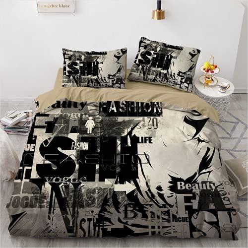 QWAS Rock - Juego de ropa de cama, ropa de cama, para niños y niñas, 3 piezas (2,140 x 210 cm + 50 x 75 cm x 2)