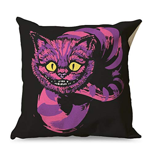 Almohada, GROOMY Grinning Like A Purple Brilliant Bright Colors Throw Cintura Funda de almohada Cuadrada con cremallera para el hogar Sofá Dormitorio Oficina Coche Estilo diverso blanco 18x18 pulgadas