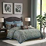 Hampton Hill Lauren Queen Size Bed Comforter Duvet 2-In-1 Set Bed In A Bag - Blue, Brown , Luxurious Jacquard Paisley – 8 Piece Bedding Sets – Ultra Soft Microfiber Bedroom Comforters
