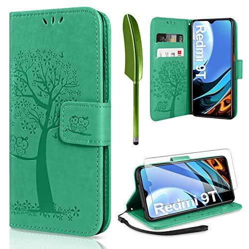 AROYI Kompatibel mit Xiaomi Redmi 9T Hülle mit Schutzfolie, PU Leder Flip Wallet Schutzhülle für Xiaomi Redmi 9T Tasche (Grün)