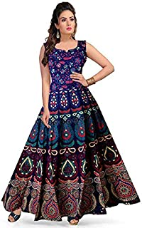 face86e04 Kristal Organation Women's One Piece Jaipuri Print Cotton Long Dress with  Sleeves Attached Inside with Back