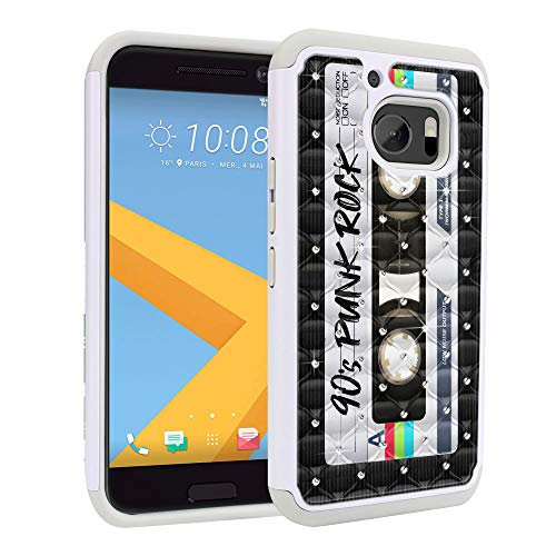 FINCIBO Case Compatible with HTC 10 One M10, Dual Layer Shock Proof Hybrid Protector Case Cover TPU Rhinestone Bling for One M10 - Retro Black Cassette Tape Punk Rock