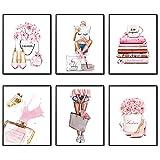 Leinwand-Kunstdruck-Set, 6 Stück, rosa Blume, Parfüm,