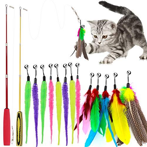 HRP 15 Stück Katzenspielzeug Katze Toys, 2 Stück Einziehbare Katze Teaser Zauberstab Spielzeug Mit 13 Katzenangel Ersatzfedern mit Glöckchen für Katze und Haustier (15 Stück Katzenspielzeug)