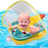 Fricon Baby Swimming Float Inflatable, Baby Pool Float Ring, Newest Infant Floats with Sun Protection Canopy and Tail, No Flip Over, for Age of 3-30 Months Babies L
