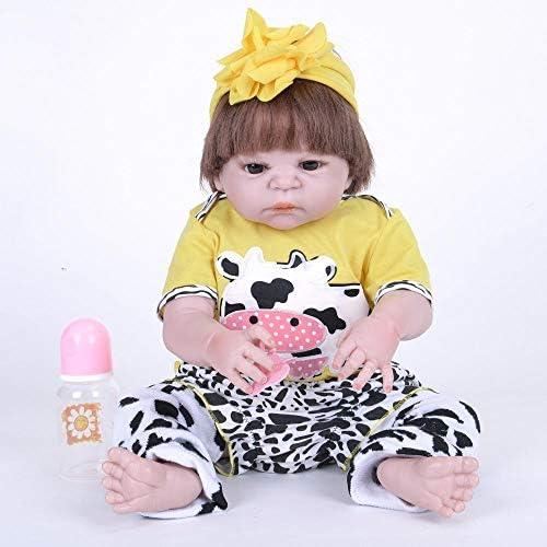 Hongge Reborn Baby Doll,Lebensechte Baby Silikon voll Gel Reborn Puppe lebensechte Puppe neugeborenes Kind Spielzeug Geschenk 55cm