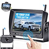 Wireless Backup Camera HD 1080P 7 Inch Touch Key DVR Monitor, Rohent R12 High-Speed Rear View Observation System Compatible with Furrion Pre-Wired RVs Trucks Trailers 5th Wheels IP69 Waterproof