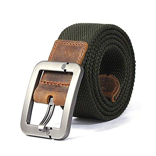yihengya Regolabile Canvas Cintura Belt Waistband con Fibbia in Metallo - Aohro All'aperto Sport Cinghia Uomo Donna Unisex in Tessuto Tela - Stile 1 - Verde Army