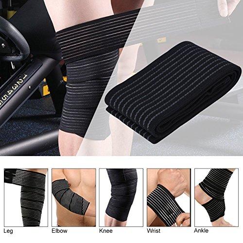 Sportbandage, für Knie, Oberschenkel oder Wade, zur Kompression bei Verletzungen und Schmerzen, schwarz, hohe Elastizität, 1 Stück - 6