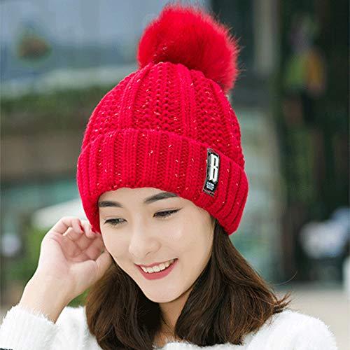 Wollmütze weibliche Winter koreanische Mode Trendige Wildpelz Ballkappe verdickte Gehörschutz Radfahren warme Strickmütze