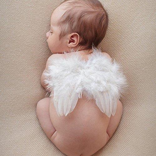 Baby Leuke Engel Veer Vleugels Fotografie Kostuum Prop Photo Prop met Elastische Parel Strass Steentjes Bloem Hoofdband Set voor Meisjes Wit