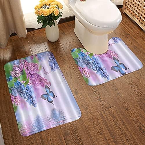 GUVICINIR Juego de 2 Alfombrillas de baño Antideslizantes Alfombra de baño,Mariposa Lila Flores Floral,alfombras y Alfombrillas con Absorbente de Agua