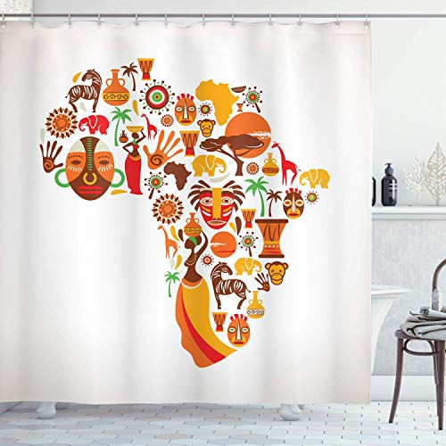 N \ A Afrikanischer Duschvorhang, Landkarten-Motiv, verschiedene berühmte & Savannen-Stil, Stoff, Badezimmer-Dekor-Set mit Haken, 152,4 x 182,9 cm, orangebraun