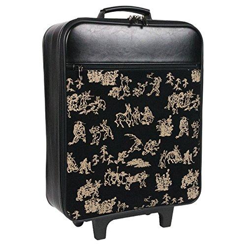 (キョウエツ) KYOETSU メンズ着物バッグ キャリー 印伝調 フェイクレザー ファスナーポケット付き 55 (鳥獣戯画, スリムタイプ)