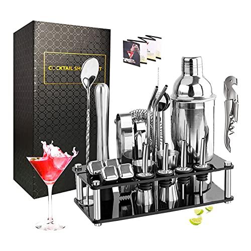 JOLIGAEA Shaker Cocktail Set,23 Pezzi Kit da Barman in Acciaio Inox,Strumento Accessorio Barra Professionale,Shaker 750ml con Mensola in Cristallo,Set Cocktail per la Casa, Bar, Festa