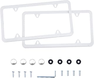 LivTee 4 Holes Stainless Steel License Plate Frames, 2 PCS Car Licence Plate Covers Slim Design with Bolts Washer Caps for US Vehicles, White