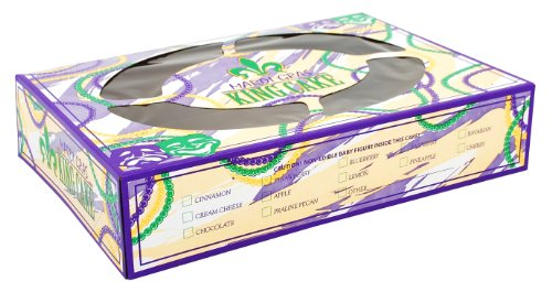 Southern Champion Tray 2487 Mardi Gras King Cake Print Window Bakery Box, 14' Length x 10' Width x 3' Height (Case of 100)