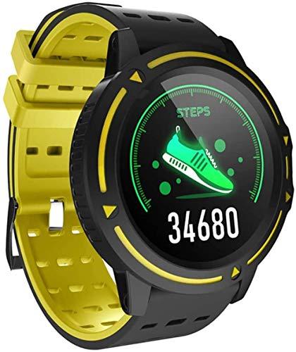 JSL Reloj Inteligente 1.3 Pulgadas HD Pantalla Grande IP67 Impermeable Fitness Tracker Deportes Fitness Tracker-Amarillo