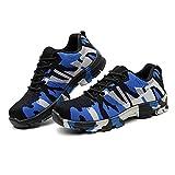 Txiangyang Zapatos de Trabajo con Puntera de Acero, Zapatos de Seguridad a Prueba de pinchazos, Antideslizantes, para Entrenar, Camuflaje Azul, 46