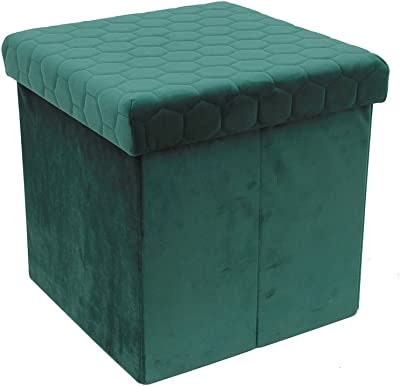 THE HOME DECO FACTORY CMHD3448 Coffre Pouf Pliable, MDF + Polyester, Vert, 37,5 x 37,5 x 38 cm