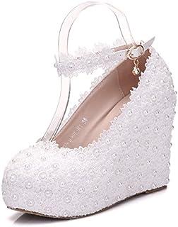 2fc90dca5 XLY Zapatos de Novia de Encaje Blanco, Hebilla de cinturón con Zapatos de  cuña,