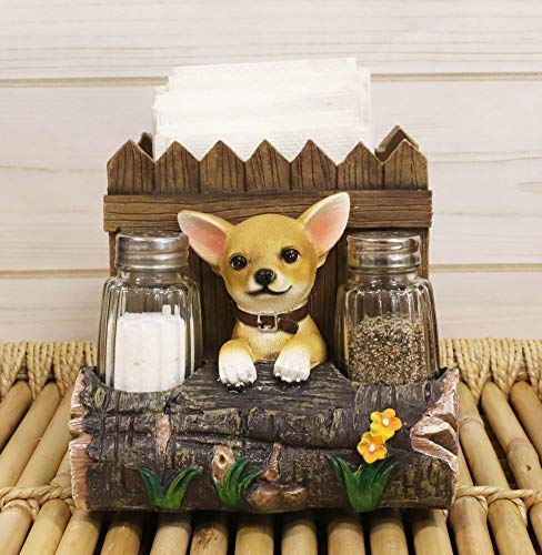 """Ebros Gift Whimsical Taco Chihuahua Dog by Home Wooden Fences and Tree Log Flower Bed Dinner Paper Napkin and Glass Salt Pepper Shakers Holder Display Figurine 6"""" Wide Kitchen Table Decorative Accent"""