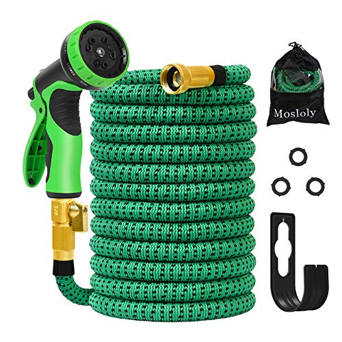 50Ft Expandable Garden Hose Water Hose with 10 Function Nozzle, 3-Layers Latex Flexible Hose, Expanding Water Hose Pipe with 3/4-in Brass Fittings, No-Kink Flex Hose for Gardening and Car Washing