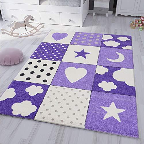 VIMODA kinderteppich kinderzimmer Flauschiger Lila Teppich Herzchen Wölkchen Patchwork Optik, Maße:120x170 cm