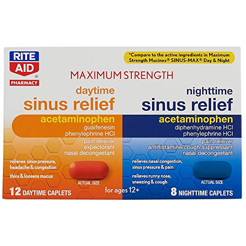 Rite Aid Maximum Strength Daytime and Nighttime Sinus Relief Caplets - 20 ct
