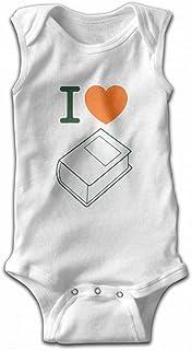 Cotton Unisex Baby Jumpsuits,I Love Books Not Kindle Sleeveless Toddler Boys Girls Bodysuit