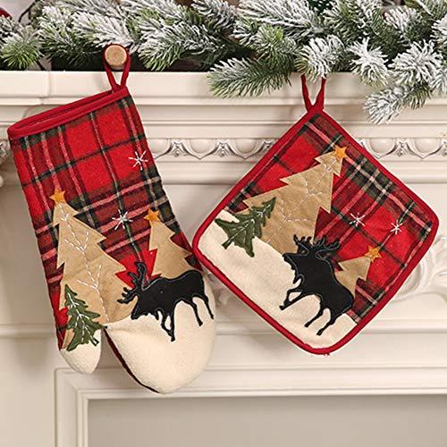 litty089 - Guanto da forno a microonde, resistente al calore, con stampa di alce, decorazione per cuscino natalizio Pad*