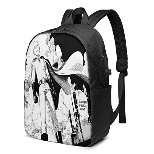 Hdadwy 17-Inch Backpack with USB Port One Punch Man Backpack for Any Travel