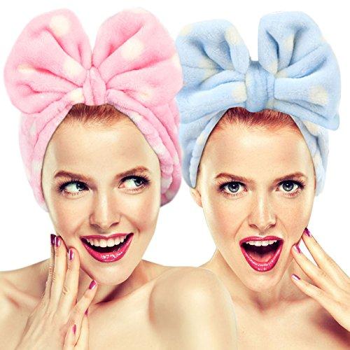 Hairizone Kosmetik Make-up Stirnbänder, niedliche Haarbänder zum Waschen Gesicht Dusche Maske Spa für Frauen und Mädchen, 2 Pack elastische Haarbänder mit weichen großen Bogen (Rosa/Blau)