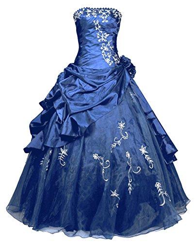 FairOnly R37 Frauen Trägerlosen Abendkleid Ballkleid (M, Marineblau)