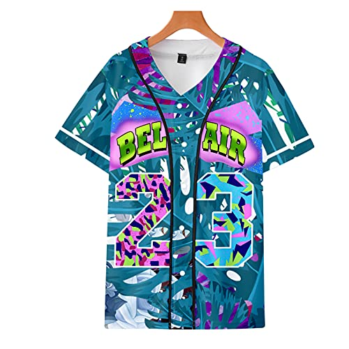 BLUBLU Women's 90s 3D Printed Splash Paint Theme Party Hip Hop Bel Air 23 Baseball Jersey Short Sleeve Tops for Birthday Party 04-M