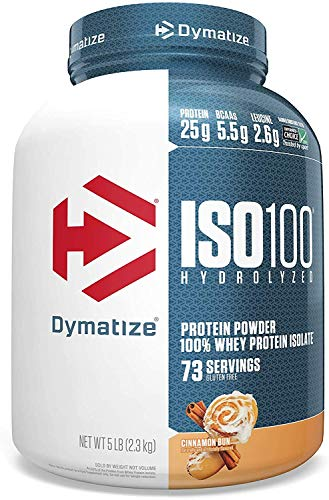 Dymatize ISO 100 Whey Protein Powder with 25g of Hydrolyzed 100% Whey Isolate, Gluten Free, Fast Digesting, Brown, Cinnamon Bun, 5 lbs