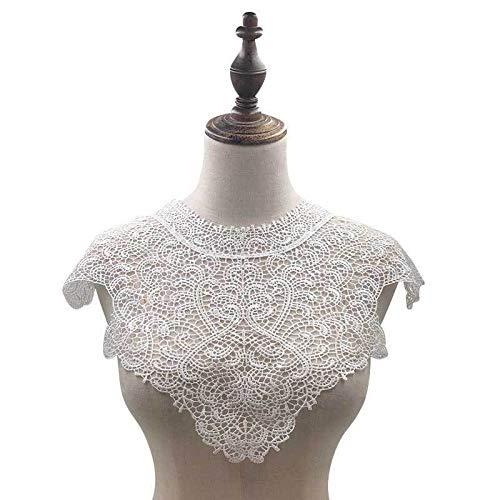 Gxbld-yy Exquisite Cotton-Spitze-Kragen Spitzen Nähen Flecken aushöhlen stickte Spitze Corsage Applique Tuch Bluse Stoff Zubehör (Farbe : Weiß)