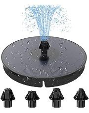 HOMMAND Fontein op Zonne-energie, 9V 3.5W Zonne-fontein Pomp met 900mAh Batterij en 4 Sproeiers, Solar Fontein op Zonneenergie voor Vogelbad, Zwembad, Vijver Tuindecoratie (180mm)