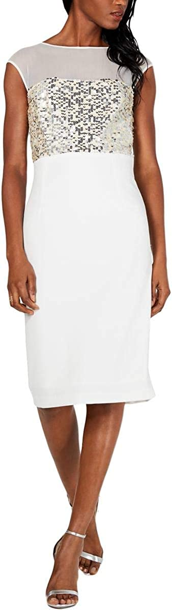 VINCE CAMUTO Women's Mesh Sequined Cocktail Sheath Dress