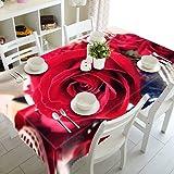 MJIA Hermoso Mantel 3D, Mantel Impermeable con patrón de Rosas Rojas de Feliz Navidad, Utilizado para picnics, barbacoas al Aire Libre, M-9 140x210cm