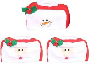 TOYANDONA 3pcs Christmas Tissue Box Cover Santa Snowman Tissue Box Case Holder Flannel Tissue Container Christmas Xmas Hol...
