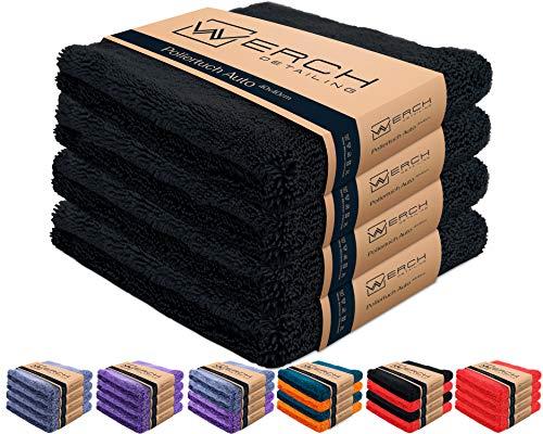 WERCH® 4X randloses Microfasertuch für Autopflege - Ultraweich und Lackschonend Dank 400 GSM - Mikrofasertücher für Auto Politur - 40x40 cm Poliertuch für Autolack (Schwarz)