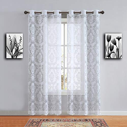 """WARM HOME DESIGNS Pair of Long Length 38"""" x 96"""" White Color Knitted Lace Curtains with 6 Grommets per Panel. Total Width 76"""". Chic, Flowing Design at Affordable Price. LI White 96"""""""