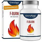F-BURN Quemagrasas potente - Fat-Burner 120 pastillas para adelgazar muy rápido - Supresor de apetito vegano - Té y café verde + extracto de guaraná - Sin aditivos