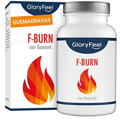 F-BURN Quemagrasas potente - Fat-Burner 120 pastillas para adelgazar muy rápido - Supresor de apetito vegano - Té y café verde + extracto de guaraná - Sin aditivos hecho en Alemania