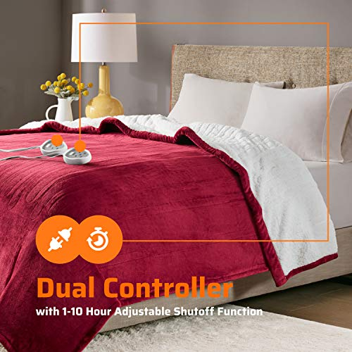 """Degrees of Comfort Sherpa Plush Dual Control Electric Blanket Queen Size, Heating Blankets   Washable   Automatic Shut Off   Double Zone, 20 Heat Settings   84"""" x 90"""" Red"""