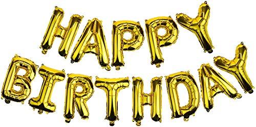 Globos para Fiesta de Cumpleaños, Globos con Letras Happy Birthday/ Feliz Cumpleaños, Suministros para Decoración de Fiesta 45CM (Dorado, Happy Birthday)