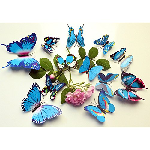 NA Home Accessories 12 Stück Simulierter 3D-Schmetterling-Wandaufkleber mit Magnet Elegante bunte Wanddekoration für Kühlschrank Computer TV Hintergrund Wand Wohnzimmer Schlafzimmer Bunt - Blau