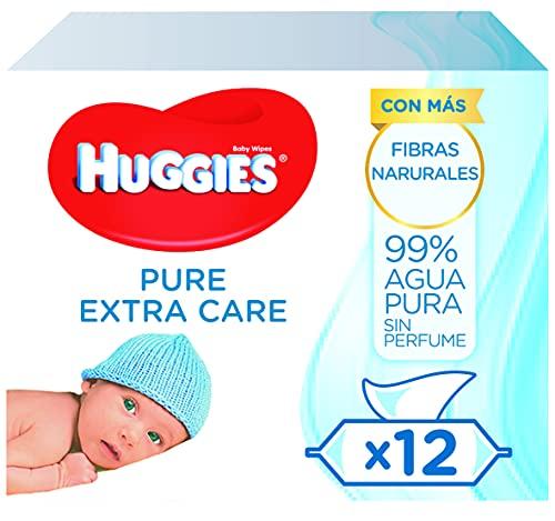 Huggies Pure Extra Care Toallitas para Bebé - 12 paquetes de 56 unidades (672 Toallitas)